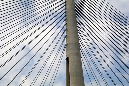 Tower Bridge at Ada Belgrade. Cables at tower provide bridge construction. High pylon.