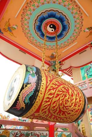 Very big china drum in china temple , Thailand photo