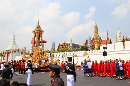 bejaratana: The grand procession to carry the body of Her Roya Highness Princess Bejaratana from the Grand Palace to the funeral pyre at Sanam Luang Monday morning at 7.00 AM,April 9,2012.Bangkok, Thailand.