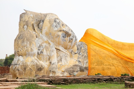 Biggest stone Reclining Buddha at Ayutthaya,Thailand photo