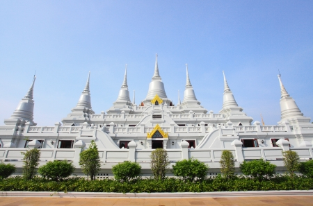 White pagoda group at Asokaram temple, Thailand  Stock Photo - 13759228