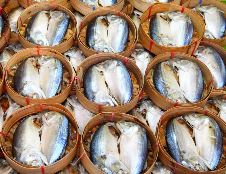Mackerel fish in bamboo basket in Thailand Stock Photo - 13832676