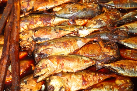 Thai mackerel fish  or Shub mackerel steamed and boiled with Thai native sauce called  Pra Too Tom Kem Stock Photo - 14019112