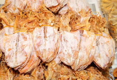 desiccation: Dried squid ready for sale in the market, product from Thailand