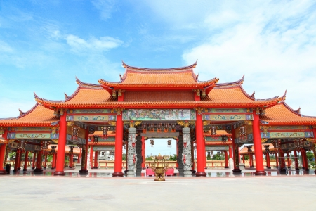 The big entry of China temple at Thumkatunyoo foundation with blue sky background ,Bangkok