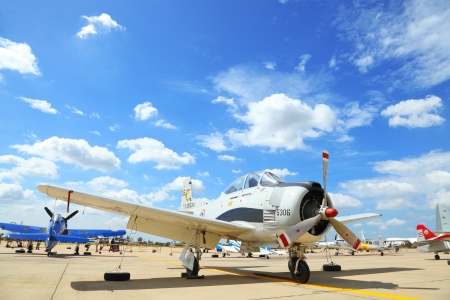 BANGKOK, THAILAND - JUNE 29: North American T-28 Trojan was showed at Cerebration of 100 year of Royal Thai air force (RTAF) at Don Muang airport on June 29,2012 in Bangkok, Thailand