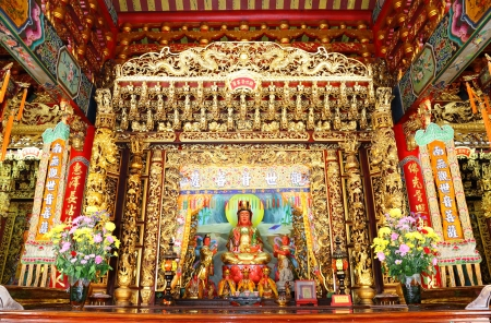 BANGKOK, THAILAND - JUNE 22: The Guan In Goddess in Chinese temple. This is the place for worship of Thai people at Thumkatunyoo foundation  ,Bangkok, Thailand. June 22, 2012.