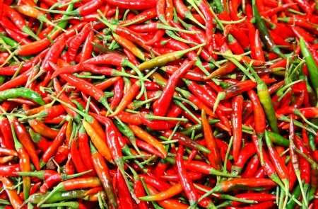Red hot peppers or chili in the market photo