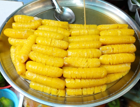 Thai style Banana in syrup , very sweet dessert in Thailand Stock Photo - 14737906