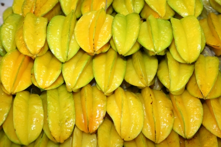 The star fruit or Carambola fruit was managed for sale in the market