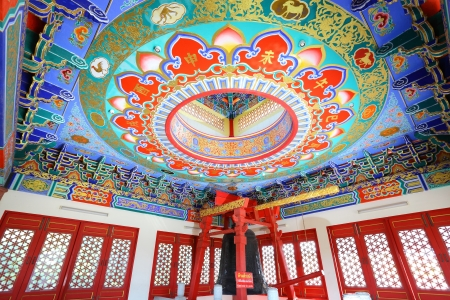 NONTHABURI, THAILAND - AUGUST 5 : The beautiful Chinese roof which painted with faith in the famous travel place at Leng Noei Yi 2 temple on August 5,2012 in Nonthaburi, Thailand