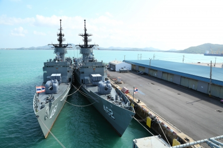 CHONBURI, THAILAND - MAY 7: The FAST FRIGATE ,FF battle ship was showed and wait for Thai people and tourist to visit at Sattahip Naval Base  on May 7,2012 in Chonburi, Thailand .