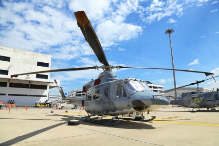 showed: BANGKOK, THAILAND - JUNE 29: The Bell UH-1Y Venom was showed in Cerebration of 100 year of Royal Thai air force (RTAF) at Don Muang airport on June 29,2012 in Bangkok, Thailand