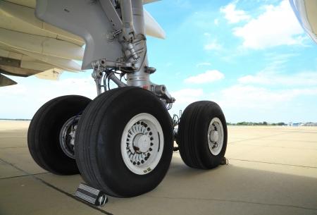 BANGKOK, THAILAND - JUNE 29 : The big wheels of Boeing 747-400 was showed in Cerebration of 100 year of Royal Thai air force (RTAF) at Don Muang airport on June 29,2012 in Bangkok,Thailand