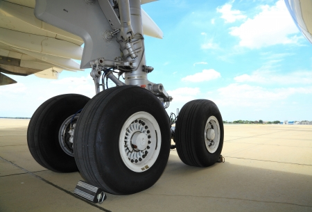 BANGKOK, THAILAND - JUNE 29 : The big wheels of Boeing 747-400 was showed in Cerebration of 100 year of Royal Thai air force (RTAF) at Don Muang airport on June 29,2012 in Bangkok,Thailand