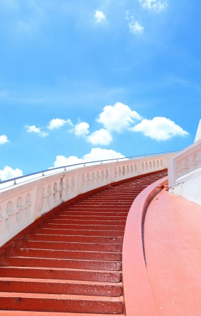 Stairway to the blue sky background using for background and concept  photo