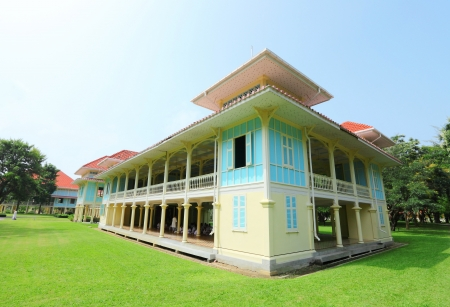 verandas: PETCHBURI,THAILAND - OCTOBER 13:The palace of 'Love and Hope', the Mrigadayavan Palace was the summer retreat house for His Majesty King Rama VI at Cha-Am on October 13,2012 in Petchburi,Thailand  Editorial