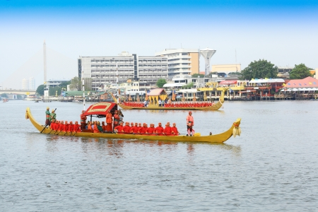 BANGKOK,THAILAND-NOVEMBER 2: 'Dang Barge' ship was set for the dress rehearsal of the Royal Barge Procession for the Royal Kathin Ceremony on the Chaopraya river on October 25,2012 in Bangkok,Thailand