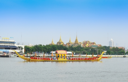 BANGKOK,THAILAND-NOVEMBER 2: 'Suphannahong' ship was set for the dress rehearsal of the Royal Barge Procession for the Royal Kathin Ceremony at Chaopraya river on November 2,2012 in Bangkok,Thailand