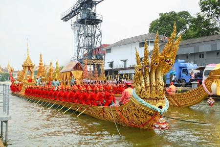 BANGKOK,THAILAND-NOVEMBER 6:'Anantanagaraj' was prepare for last dress rehearsal of the Royal Barge Procession for the Royal Kathin Ceremony at Chaopraya river on November 6,2012 in Bangkok,Thailand