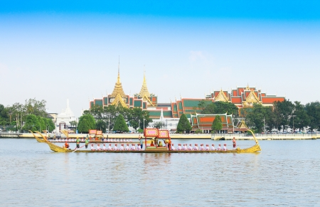 BANGKOK,THAILAND-NOVEMBER 6: 'Ekkachailaothong' was in the last dress rehearsal of the Royal Barge Procession for the Royal Kathin Ceremony at Chaopraya river on November 6,2012 in Bangkok,Thailand