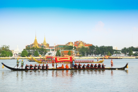 BANGKOK,THAILAND-NOVEMBER 6: 'Krabiprabmuangmarn' was in the last dress rehearsal of the Royal Barge Procession for the Royal Kathin Ceremony at Chaopraya river on November 6,2012 in Bangkok,Thailand