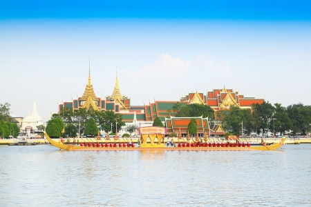 BANGKOK,THAILAND-NOVEMBER 6: Anekchatbhuchonge was in the last dress rehearsal of the Royal Barge Procession for the Royal Kathin Ceremony at Chaopraya river on November 6,2012 in Bangkok,Thailand