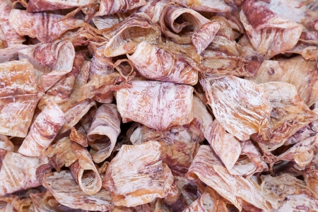 Dried squid, Thai food style in street market photo