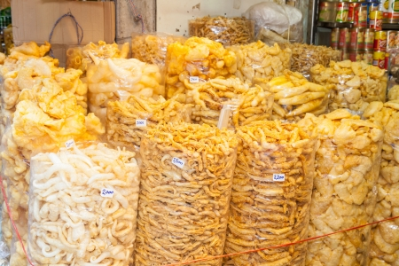 Plenty of Dried fish maw was sale in the biggest China street market called  Yao Wa Rat