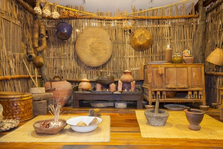 Traditional ancient Thai kitchen display which used over 200 years ago