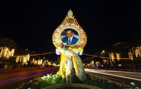 BANGKOK THAILAND-DECEMBER 29 : Lighting picture birthday celebration (father day) King of Thailand on December 5, 2012 at Ratchadamnoen Klang Road on December 29,2012 in Bangkok,Thailand