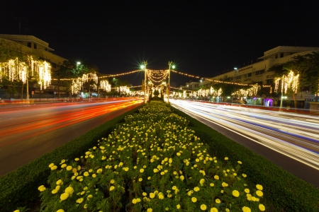 BANGKOK,THAILAND-DECEMBER 29 :On 5th December which is the King Bhumibol Adulyadej Birthday,Thai government celibate and decorate light on Ratchadamnoen road on December 29,2012 in Bangkok,Thailand