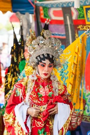 liberating: BANGKOK,THAILAND- NOVEMBER 28:The beautiful Chinese opera was show and celebrated on King Taksin day who liberating Siam at Wat Aroonratchawararam temple on December 28,2012 in Bangkok,Thailand