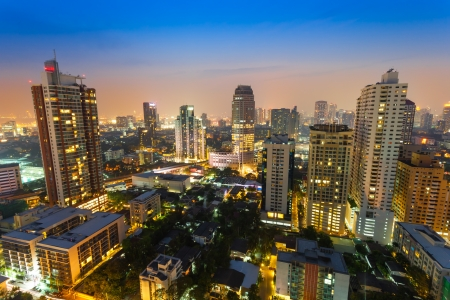 BANGKOK,THAILAND-JANUARY 01: The cityscape view in the night at Sukumvit road area which is the main business and shopping area at Ekkamai view point on January 01,2013 in Bangkok,Thailand