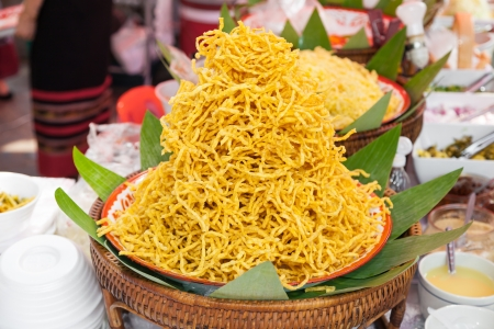 Traditional Northern Thai Food ,Fried noodle called  Kao soi  photo