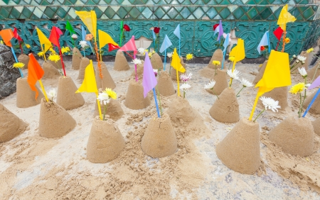 virtue: The sand pagoda which Thai people built for virtue for background use