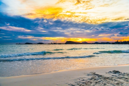 Beautiful sky on the beach in sunset at Naang rum beach, Thailand for background use Stock Photo