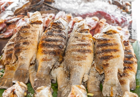 Grilled Tilapia fish in street market of Thailand Stock Photo - 20378378