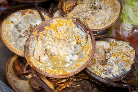 Roasted Mangrove horseshoe crab was sale in Thailand photo