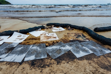 Ao Prao Beach was full of crude oil on oil spill accident on Ao Prao Beach at Samet island on July 31,2013 in Rayong,Thailand photo