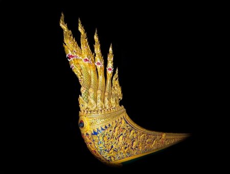 BANGKOK,THAILAND- AUGUST 28  The right side head of very ancient and beautiful of the royal barge  Anantanakaraj Royal Barge   was show at the royal barge museum on August 28,2013 in Bangkok,Thailand