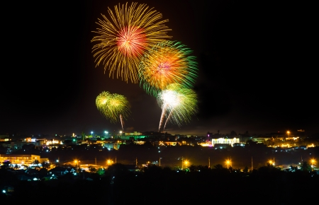 The big firework in Prajuabkirikan,Thailand  photo