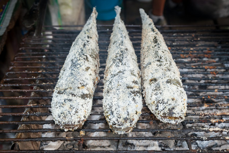 Grill snake head fish with salt coated,the popular food in Thailand