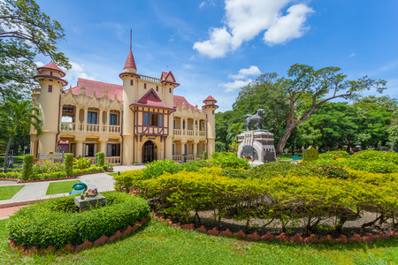 NAKORNPRATHOM,THAILAND-AUGUST 25:The side view of Sanam Chandra Palace where is the ancient and popula for Thai&foreigner to visit at Nakornprathom on August 25,2014 in Nakornprathom,Thailand