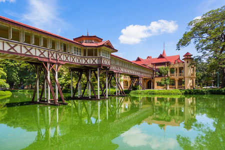 NAKORNPRATHOM,THAILAND-AUGUST 25:The ancient wood bridge Sanam Chandra Palace where is the ancient and popular for Thai&foreigner to visit at Nakornprathom on August 25,2014 in Nakornprathom,Thailand