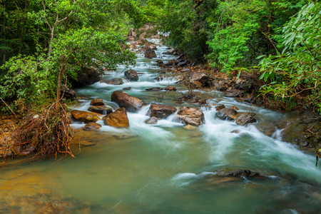 trad: Full of water at Klong Ploo waterfall in Chang island in Trad province ,Thailand for background use
