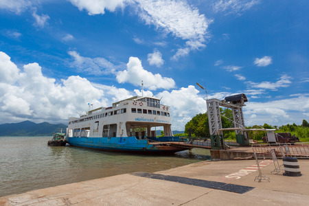 TRAD,THAILAND-SEPTEMBER 11:Close up of  ferry boat which transport peoples and vehicles from Trad pier to Koh Chang island at Tummachart pier on August 11,2014 in Trad,Thailand