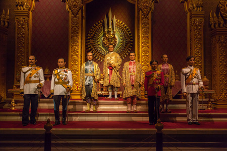 NAKORNPRATHOM,THAILAND-AUGUST 25: The Royal Images of Chakri Dynasty Kings of Thailand was show at Thai Human Imagery Museum on August 25,2014 in Nakornprathom,Thailand Editorial