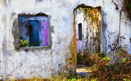 Abandoned house wall