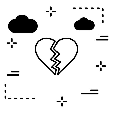 Vector Heart Break Icon Illustration
